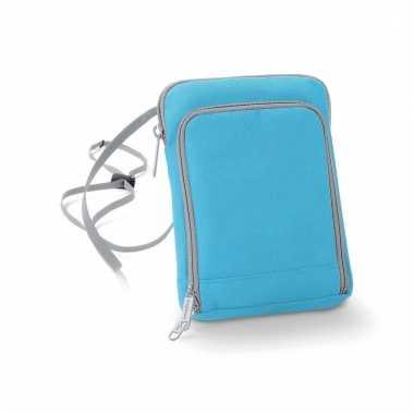 Blauwe reisportemonnee 19 cm