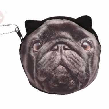 Dierenprint portemonnee zwarte mopshond 10 x 11 cm