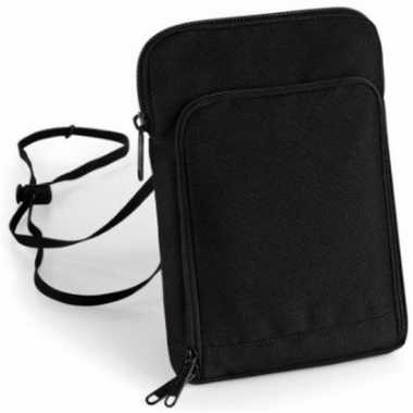 Documenten reistasje/portemonnee zwart 22 cm