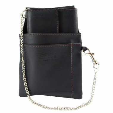 Horeca portemonnees zwart met holster en ketting18 x 10 cm