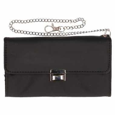 Ober portemonnee met safety ketting zwart 18 cm