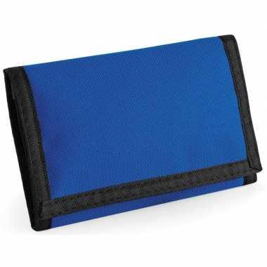 Portemonnee/portefeuille met klittenband sluiting blauw