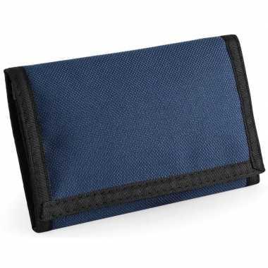Portemonnee/portefeuille met klittenband sluiting navy blauw