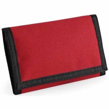 Portemonnee/portefeuille met klittenband sluiting rood