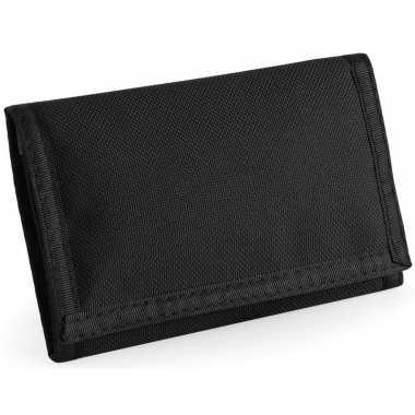 Portemonnee/portefeuille met klittenband sluiting zwart