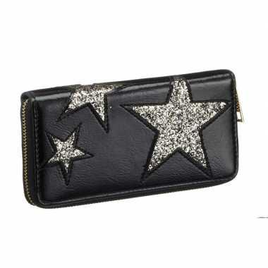 Portemonnee voor dames zwart met gouden ster