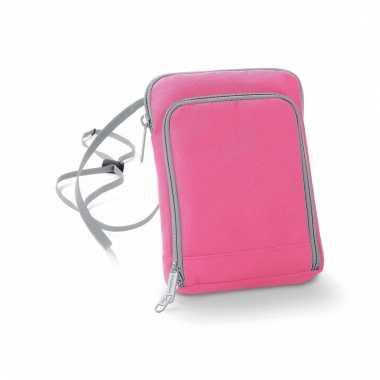 Roze reisportemonnee 19 cm