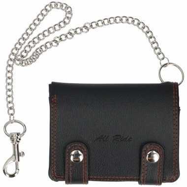 Zwarte portemonnee met ketting 12 4 cm